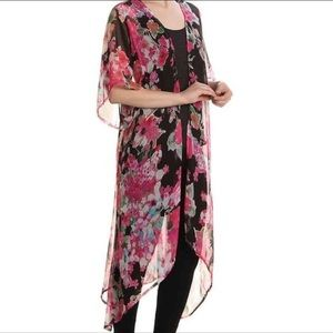nwt // betsey johnson floral sheer ruffle duster